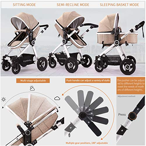 51rNOzAruzL - Baby Stroller Bassinet Pram Carriage Stroller - Cynebaby All Terrain Vista City Select Pushchair Stroller Compact Convertible Luxury Strollers Add Foot Cover (Light Brown)