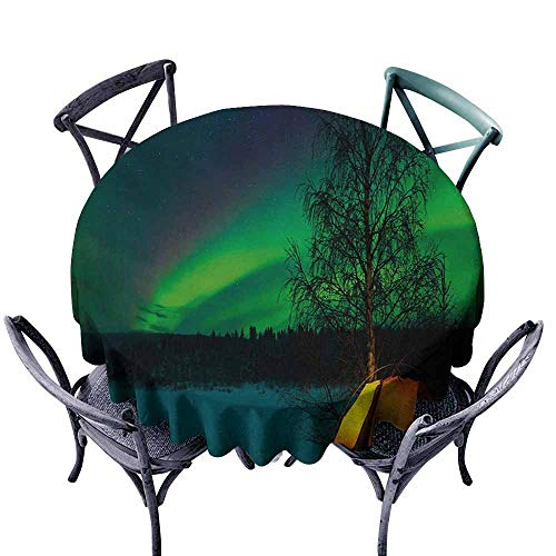 VIVIDX Washable Round Tablecloth,Aurora Borealis,Camping Tent Under Magnetic Field Nature Picture,Table Cover for Kitchen Dinning Tabletop Decoratio,35 INCH,Lime Green Dark Blue Earth Yellow