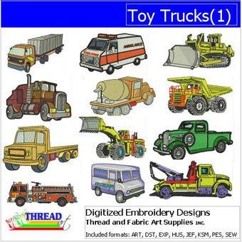 Machine Embroidery Designs - Toy Trucks(1) - CD 1 Embroidery Design