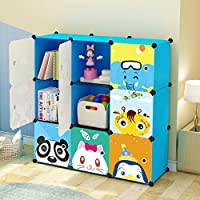 KOUSI Kids Toy Storage Organizer Bookcase, 9 Storage Cube Blue