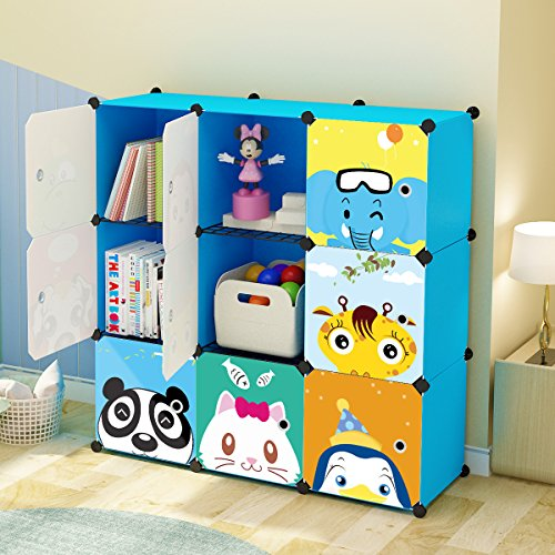 Babys First Wardrobe (KOUSI Kids' Toy Storage Organizer Bookcase, 9 Storage Cube Blue)
