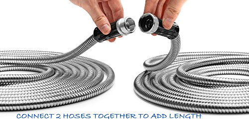 Tiabo Metal Garden Hose 25ft 304 stainless steel super flexible cool to the touch all weather hose
