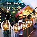 Grezea Globe String Lights G40 25ft With 25 2 Clear Bulbs Patio Lights For Indoor Outdoor Commercial Decor Camper Party Wedding Christmas Garden Backyard Balcony Deck Yard Pergola Gazebo Black