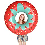 Jasonwell Giant Strawberry Pool Party Float 45'' Inflatable Pool Tube Rafts Summer Outdoor Swimming Pool Toys Decorations for Adults and Kids