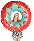 Jasonwell Giant Strawberry Pool Party Float 45 Inch Inflatable Pool Floats Tube Rafts with Rapid Valves Summer Outdoor Swimming Pool Lounge Decorations Toys for Adults & Kids