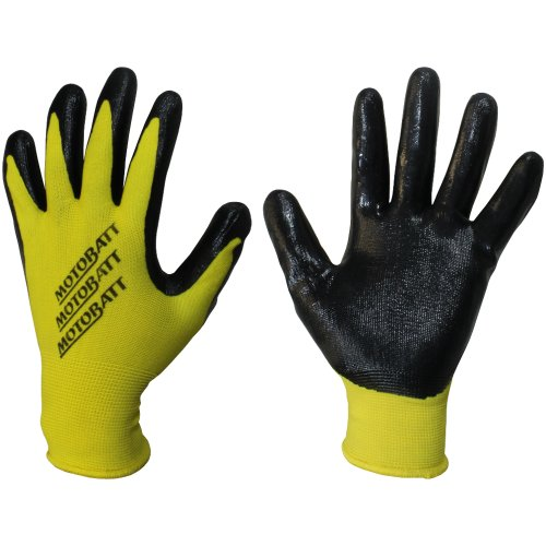 MotoBatt Technician Gloves with Nitrile Coated Palm (Yellow, (Coated Palm Wells)