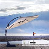 Grand Patio Napoli Deluxe 12 FT Curvy Aluminum Offset Umbrella, Patio Cantilever Umbrella with Base, Champagne