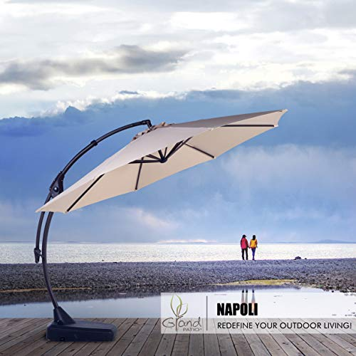 Grand Patio Napoli Aluminum Offset Cantilever Umbrella with Base - 12 ft.