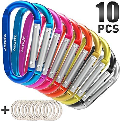 ZPOSE 10PCS Carabiner Clip Durable Aluminum D Ring 3