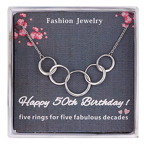 Burning Love 50th Birthday Gifts For Women,Sterling Silver Five Interlocking Circles Necklace Pendant Jewelry For Women, Five Decades Jewelry Fifty Years Old Mothers Day Gifts]()