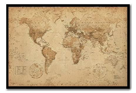 Amazon iposters world map poster ye old parchment magnetic iposters world map poster ye old parchment magnetic notice board black framed 965 x 66 gumiabroncs Gallery