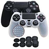 Cheap YoRHa Studded Silicone Cover Skin Case for Sony PS4/slim/Pro controller x 2(black+white) With Pro thumb grips x 8