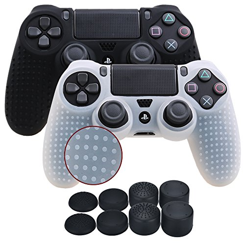 YoRHa Studded Silicone Cover Skin Case for Sony PS4/slim/Pro controller x 2(black+white) With Pro thumb grips x 8