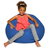 Big Comfy Bean Bag Chair: Posh Large Beanbag Chairs with Removable Cover for Kids, Teens and Adults - Polyester Cloth Puff Sack Lounger Furniture for All Ages - 27 Inch - Solid Royal Blue