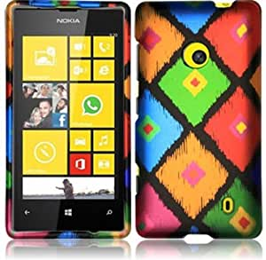 Rubberized Plastic Colorful Frame Tribal Hard Cover Snap On Case For Nokia Lumia 521 W/ Free Screen Protector (StopAndAccessorize)