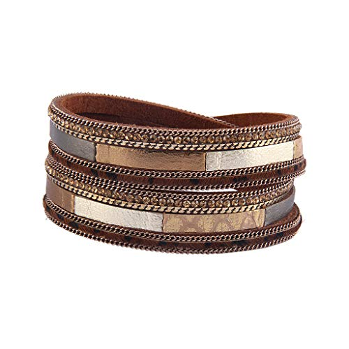 Jenia Leopard Skin Leather Wrap Bracelet Casual Multi Layer Wrap Bracelets with Magnetic Clasp for Women, Girls, Wife