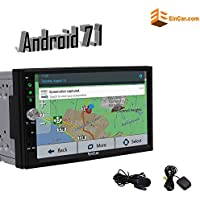 Upgraded EinCar 7 Inch Android 7.1 Double Din Car Stereo Quad Core In Dash GPS Navigation with Bluetooth Wifi FM/AM Radio Receiver Capacitve Touchscreen - Free External Microphone- No DVD Player