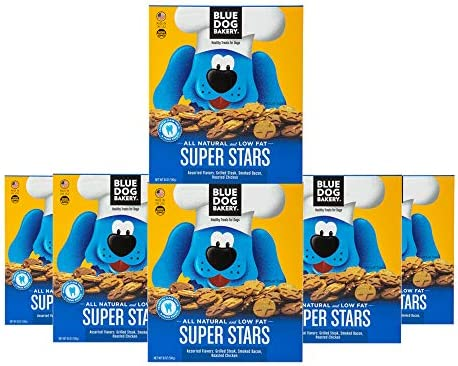 Blue Dog Bakery Natural Dog Treats, Super Stars, 18 Ounce Box Pack of 6