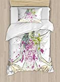 Ambesonne Yoga Duvet Cover Set Twin Size, Girl with Floral Wreath Sitting in Lotus Pose Color Splashes Levitation Meditation, Decorative 2 Piece Bedding Set with 1 Pillow Sham, Multicolor