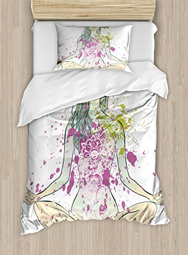 Ambesonne Yoga Duvet Cover Set Twin Size, Girl with Floral Wreath Sitting in Lotus Pose Color Splashes Levitation Meditation, Decorative 2 Piece Bedding Set with 1 Pillow Sham, Multicolor by Ambesonne