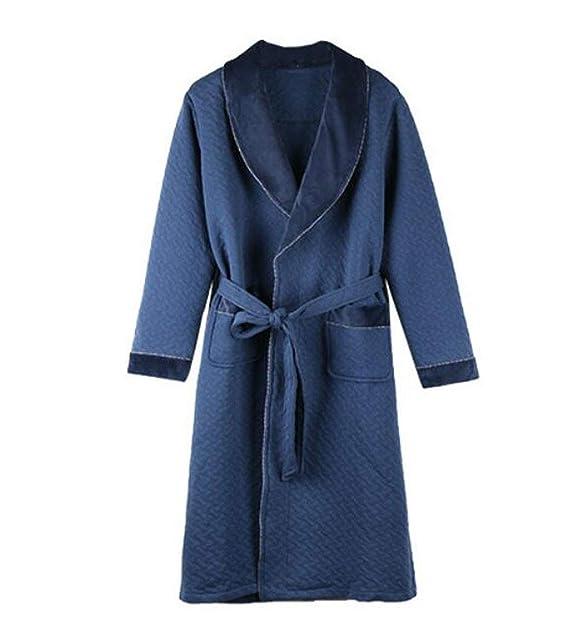 Pijamas laminados de los Hombres de otoño e Invierno Engrosamiento además de Largo Albornoz de algodón