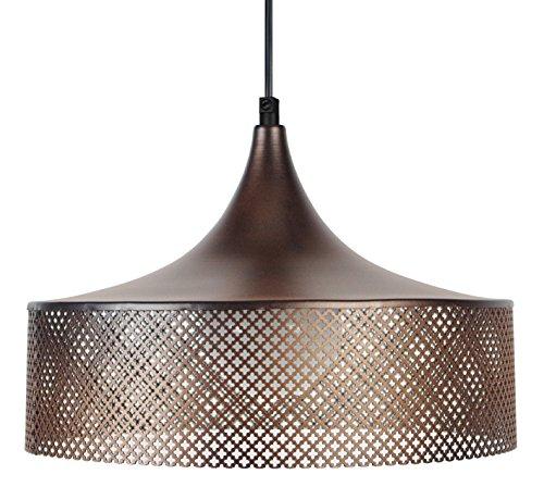 Tosel 15551 schwedischen Mantel Hängeleuchte Blech Stahl perforiert Malerei Epoxid Bronze 310 x 900 mm