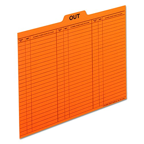 Pendaflex 2051 Salmon Colored Charge-Out Guides, top Out tab, Letter Size, 100/box