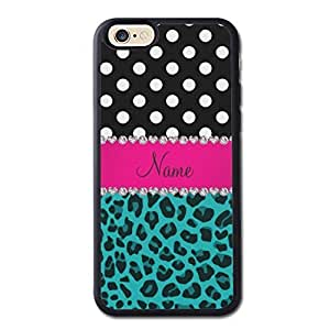 Custom Name Turquoise Leopard Black Dots Generic High Quality Snap On Soft TPU Cellphone Case Back Skin Cover Protector For iPhone 6 4.7inch Black