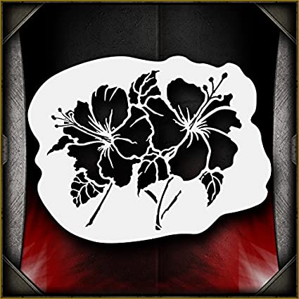 Hibiscus Flowers AirSick Airbrush Stencil Template