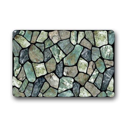 Flagstone Grey Stone Door Mat Non-Slip Indoor or Outdoor Door Mat Doormat Home Decor Rectangle 23.6 x 15.7 inches (Baja Square Rug)