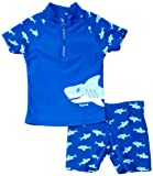 Playshoes Sun Protection 2 Piece Shark Boy's Swim Shorts, Blue, 3-4 Years