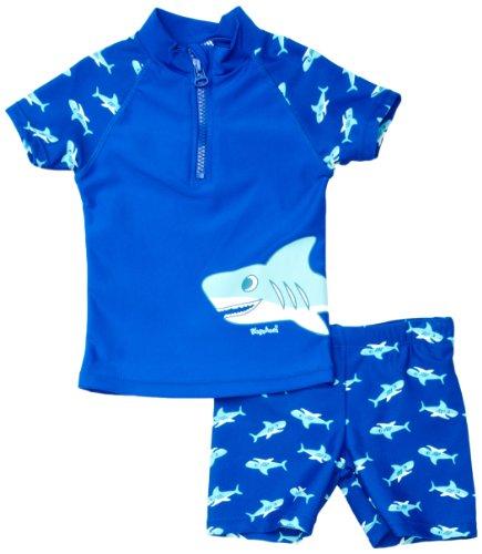 Playshoes Baby - Jungen Schwimmbekleidung 460122 2 tlg. Badeset Hai bestehend aus Badeshirt und Badeshorts, UV-Schutz nach Standard 801 und Oeko-Tex Standard 100, Gr. 74/80, Blau (original )