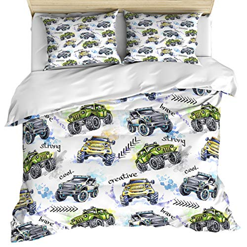 (Cars 3 Piece Bedding Set Comforter Cover Twin Size, Hand Drawn Watercolored Monster Trucks Enormous Wheels Off Road, Duvet Cover Set Bedspread Daybed with Zipper Closure for Kids/Teens/Adults)