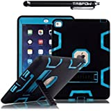 iPad Air 2 Case, TabPow [Triple Layer][Shockproof][Kickstand][Heavy Duty] Hybrid Rugged Drop Proof Defender Case Cover with Stand For Apple iPad Air 2 with Retina Display / iPad 6th Generation [FREE SCREEN PROTECTOR + STYLUS BUNDLE], Blue