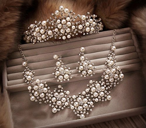 Yilanair Luxury Pearl Crystal Head Crown Choker Necklace Clip Earrings Wedding Party Jewelry Sets