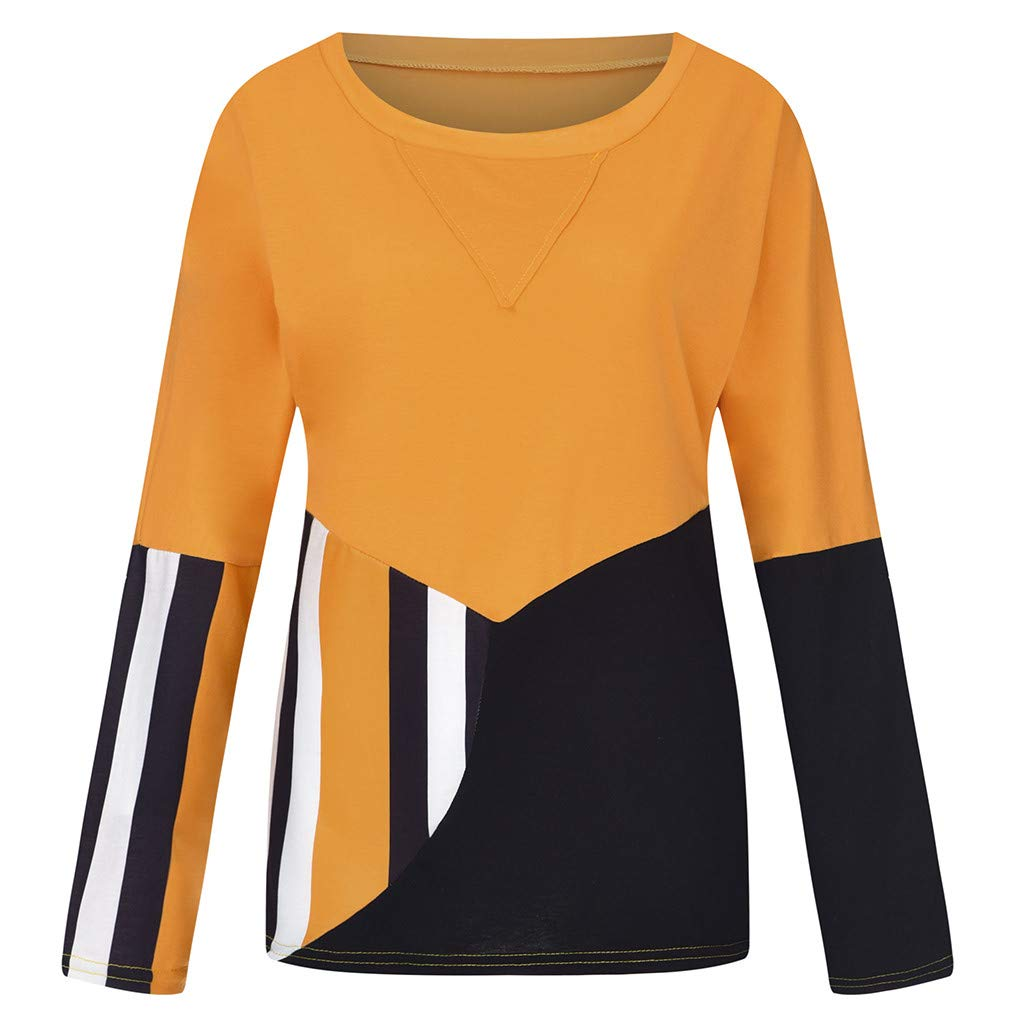 Pandaie Womens Shirts Color Block Patchwork Loose Plus Size O-Neck Long Sleeve T Shirt Top Blouse Pullover