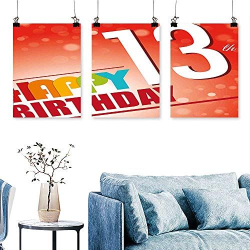 SCOCICI1588 3 Panel Canvas Wall Art Retro Style Teenage Party Invitation Graphic Design Bokeh Rays Print On Canvas No Frame 24 INCH X 47 INCH X -