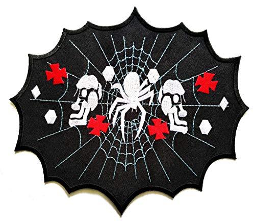 PP Patch XXL Big Jumbo Large Spider Cobweb Skull Horror Goth Tattoo Punk Boho Logo Biker Patch Jacket T-Shirt Sew Iron on Patch Badge Embroidery