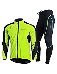 NUCKILY Men's Waterproof Cycling Sportswear Mesh Fabric with Fleece Lining Jersey Set