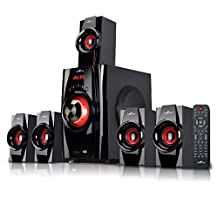 beFree Sound 5.1 Channel Bluetooth Home Stereo System with USB and SD Slots-Red