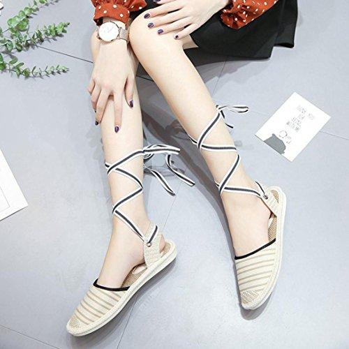Muium Women Fashion Sandals, Ladies Espadrilles Canvas Flat Sandals Casual Outdoor Strap Bandage Shoes Beige