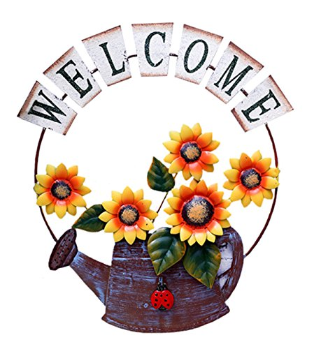 D-Fokes Handcrafts Vintage Metal Watering Pot Sunflower Welcome Sign Front Door Decor Hanging Outdoor Wreath Decorative Door Porch Bar Cafe Shop Store