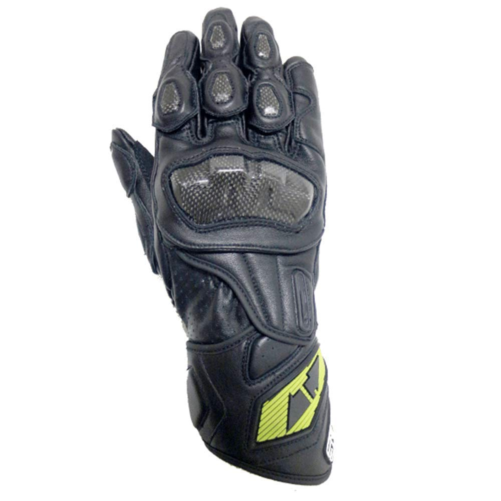 AsDlg Men Genuine Leather Glove Racing Mountain Bike Bicycle Cycling Off-Road/Dirt Bike Gloves Road Racing Motorcycle Motocross Sports Gloves (Color : Black, Size : M)