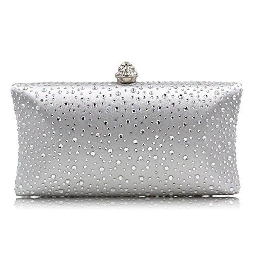 Handbag Beaded Party Purse Evening Clutch Bag Sequin Rhinestone with Wedding Prom Women Bride Silver wgvqZdw