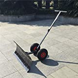 Snow Removal Tool Heavy Duty Snow Shovel Heavy Duty Rolling Adjustable Snow Pusher with 6' Wheels Efficient Snow Plow Suitable for Driveway or Pavement Clearing 25' Blade