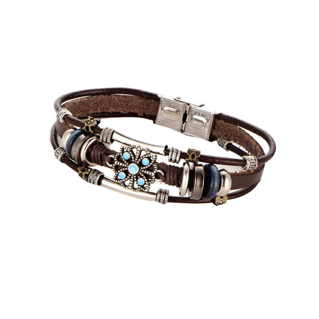 Aulley Antique Multilayers Flower Bracelet Bohemian Adjustable Beads Leather Bangles Wristband Wrist Decor