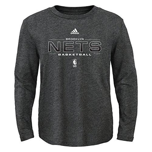 NBA Athletic Standard Long Sleeve Tee-Charcoal-XL(18), Brooklyn Nets