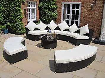 Amber Luxury Grey Rattan Garden Furniture Set Sofa And Coffee