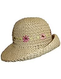 N'Ice Caps Girls Crushable Embroidered Summer Straw Floppy Hat (3-5yrs, natural)