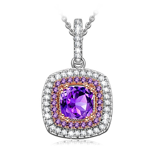NINASUN Women Necklace Amethyst Birthstone Birthday Gifts for Women s925 Sterling Silver Pendant Necklace Fine Jewelry for Her Valentines Day for Girlfriend Wife Mom Impression Sunrise